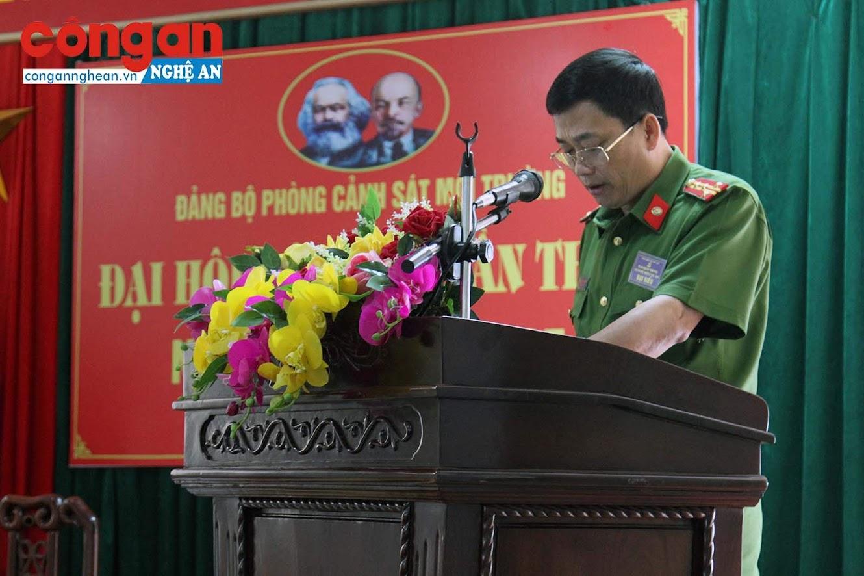 Đồng chí Đại tá Nguyễn Mạnh Hùng, Ủy viên BTV Đảng ủy, Phó Giám đốc Công an tỉnh phát biểu chỉ đạo tại Đại hội