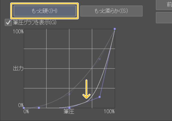 クリスタ:筆圧グラフ(もっと硬く)
