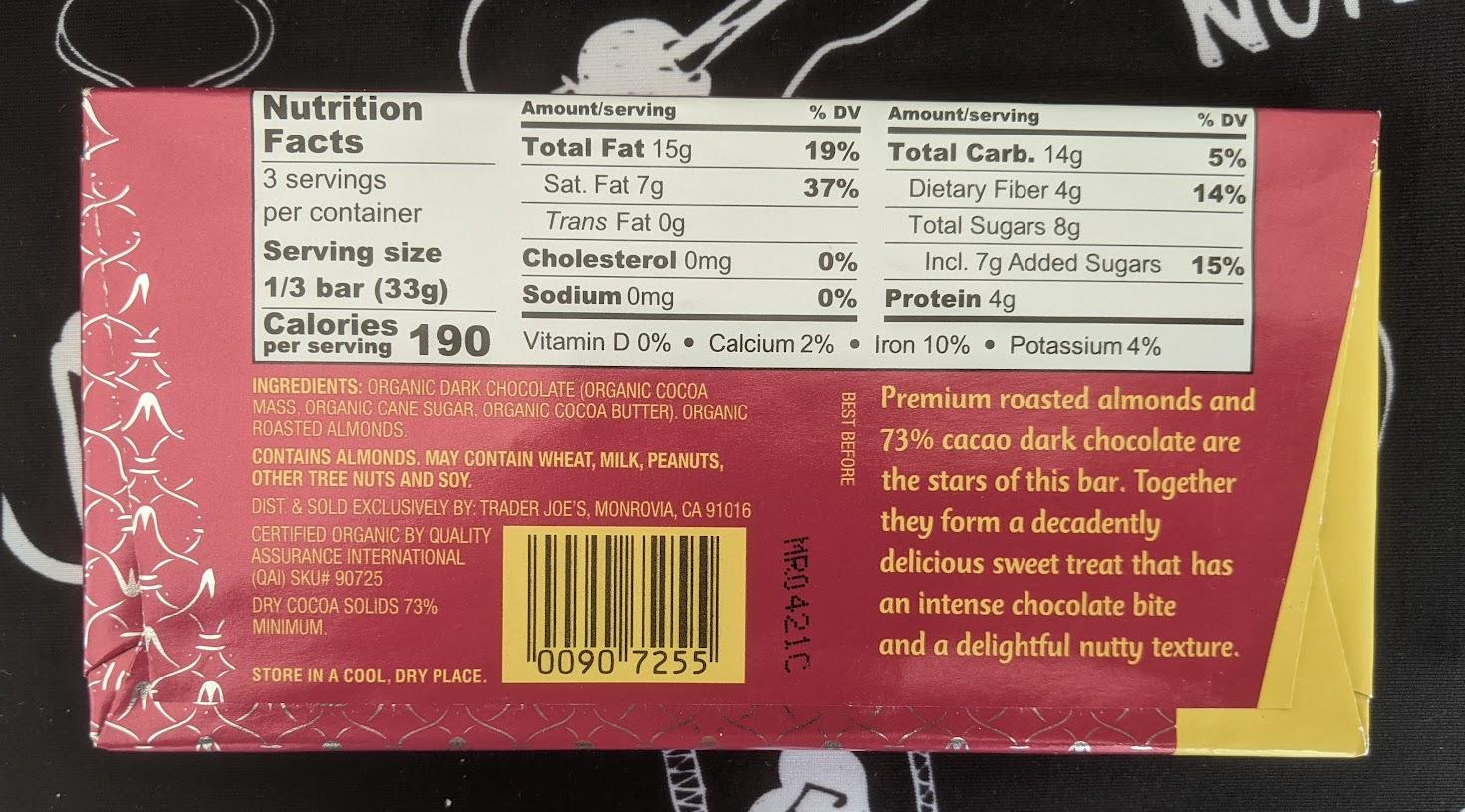 73% trader joe's almond bar