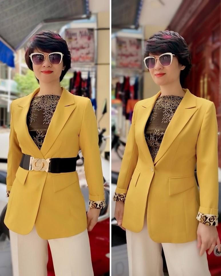 Áo vest nữ công sở màu vàng mix quần ống suông V741 thời trang thủy hà nội