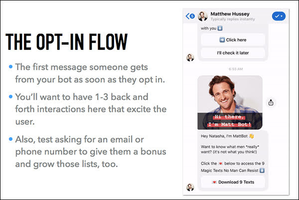 Here's an example that you'll see in the ManyChat Flow that we'll take you through.