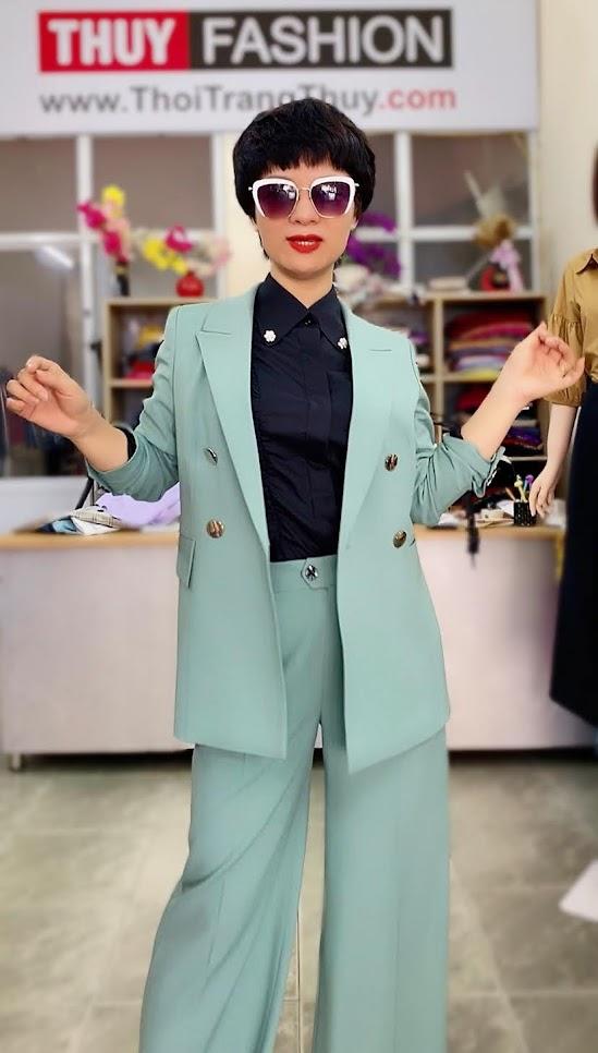 Áo vest nữ mix đồ quần ống suông màu xanh V726 thời trang thủy quảng ninh