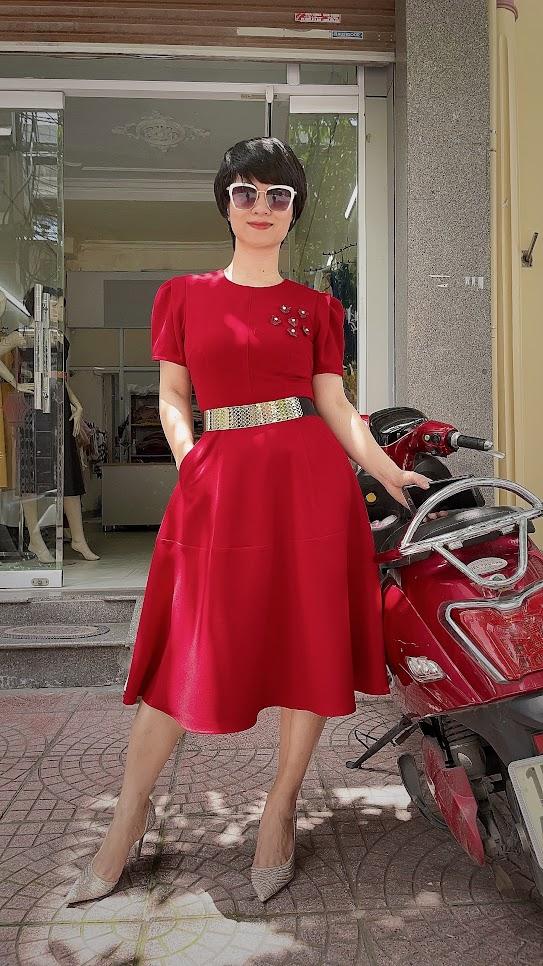 váy xòe midi công sở dạo phố thời trang thủy hà nội