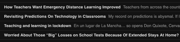 Screencap of RSS feeds on teaching during COVID-19 lockdown and its aftermath.