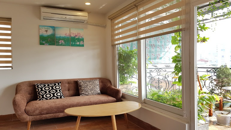 Nice 1 – bedroom apartment with big balcony in Ham Long street, Hoan Kiem district for rent