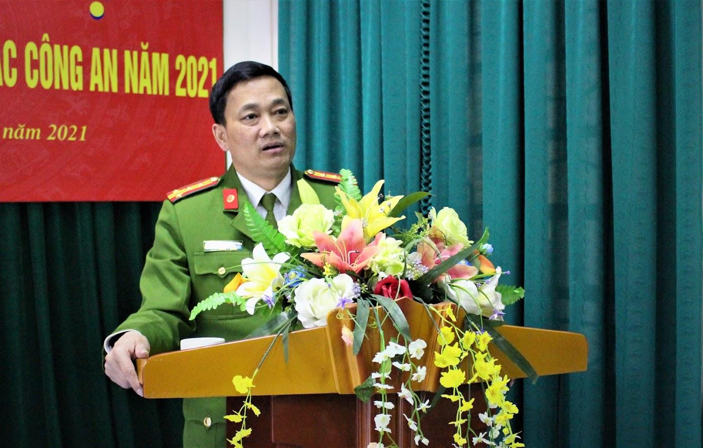 Đại tá Nguyễn Mạnh Hùng, Phó Giám đốc Công an tỉnh nhấn mạnh những nhiệm vụ trọng tâm mà Phòng Kỹ thuật hình sự cần tập trung thực hiện trong thời gian tới