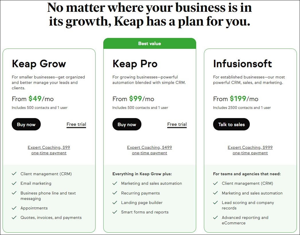 Pricing page from Keap (formerly Infusionsoft)