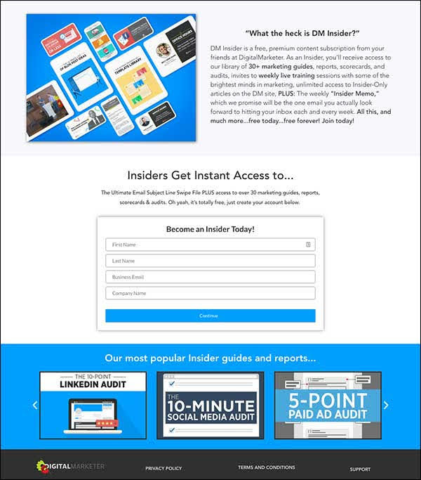 For the case of our Insider funnel, our squeeze page looked like this…