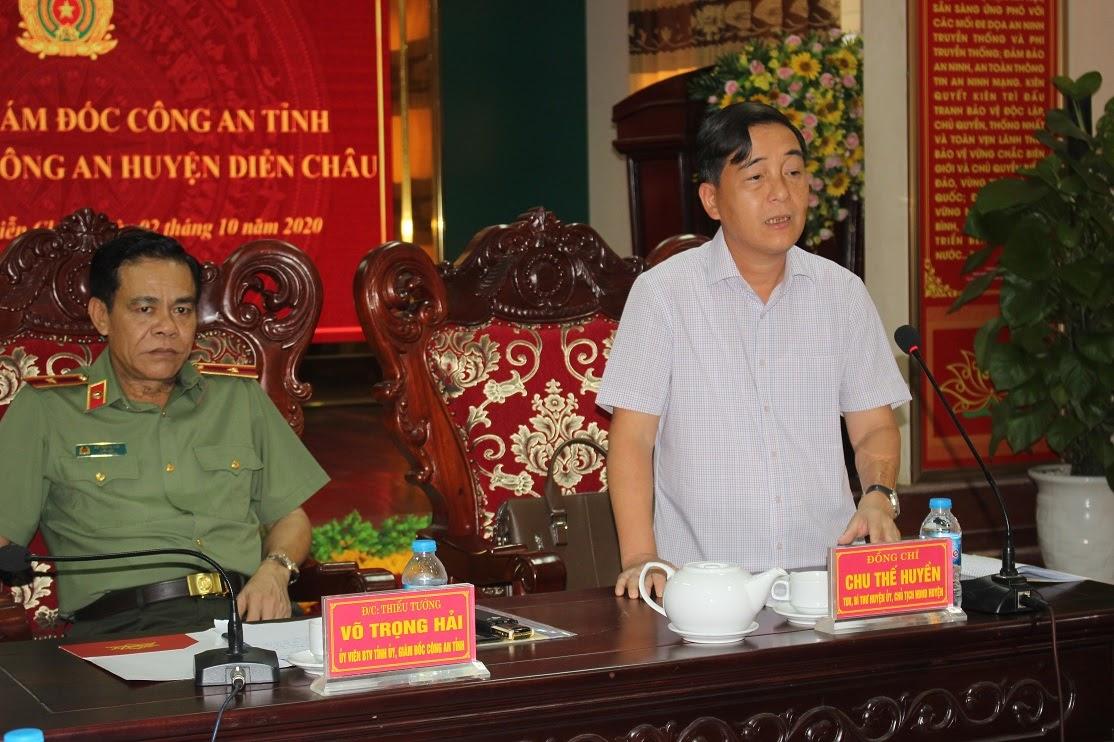Phát biểu ý kiến tại buổi làm việc, đồng chí Chu Thế Huyền TUV, Bí thư Huyện ủy, Chủ tịch HĐND huyện đã ghi nhận, biểu dương và đánh giá cao những cố gắng nỗ lực của Công an huyện Diễn Châu trong công tác đảm bảo ANTT 9 tháng đầu năm 2020.