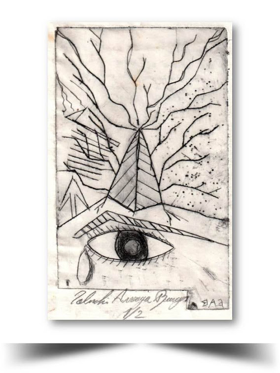 Grabado en Punta seca Ojo Magico 1998 Obra del Artista Ecuatoriano Lalinchi Arreaga Burgos E.E.A.B