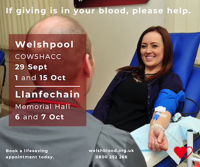 Spaces to give blood next week