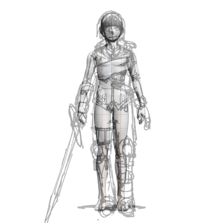 クリスタの3Dデッサン人形とキャラクター正面図