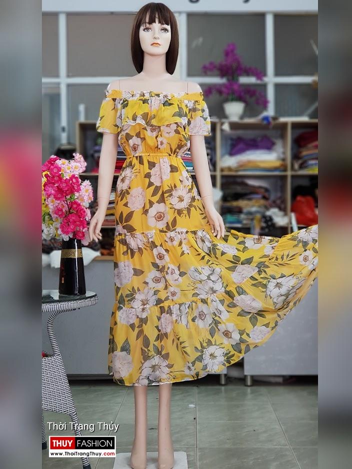 Váy maxi hoa vàng mặc đi biển dự tiệc thời trang thủy hải phòng