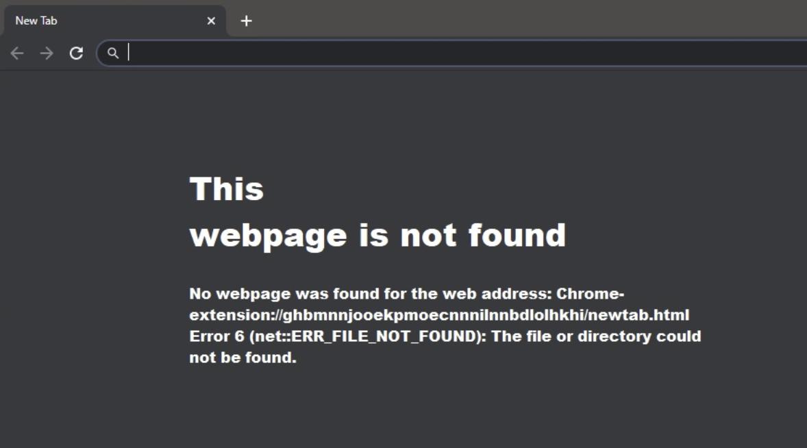 """How do I fix Google Chrome """"ERR_FILE_NOT_FOUND"""" Error 6"""