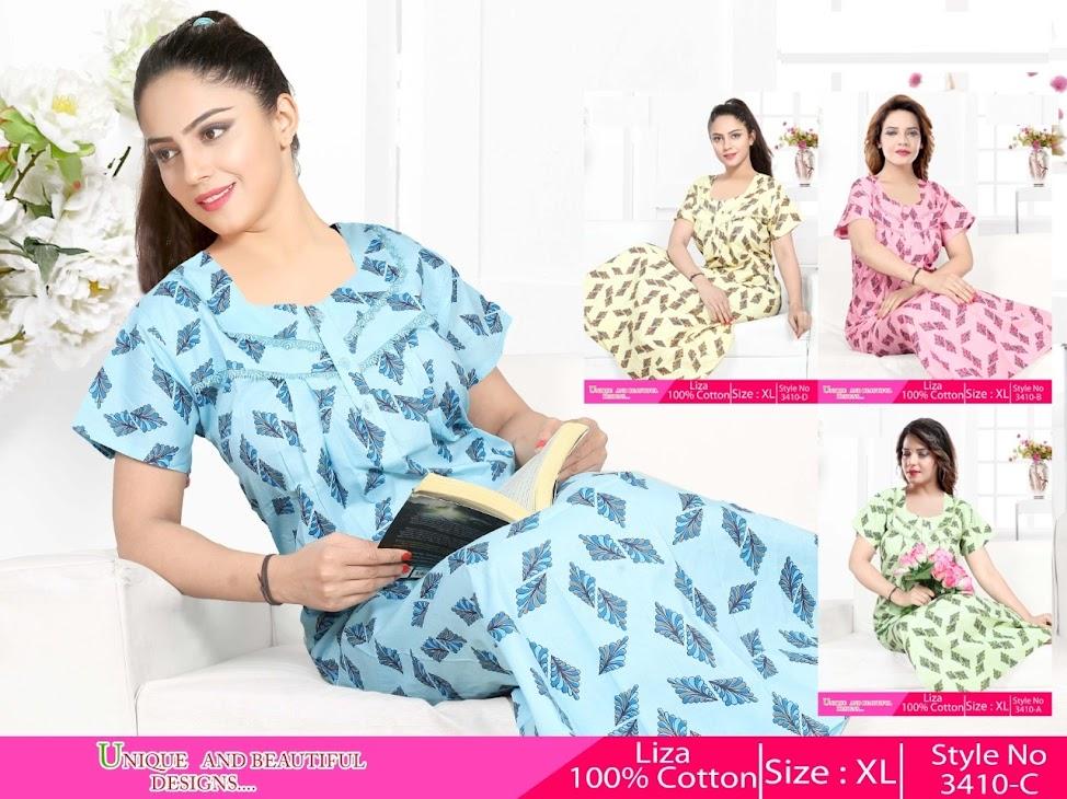 Liza 3410 Kavyansika Designer Nighty Manufacturer Wholesaler