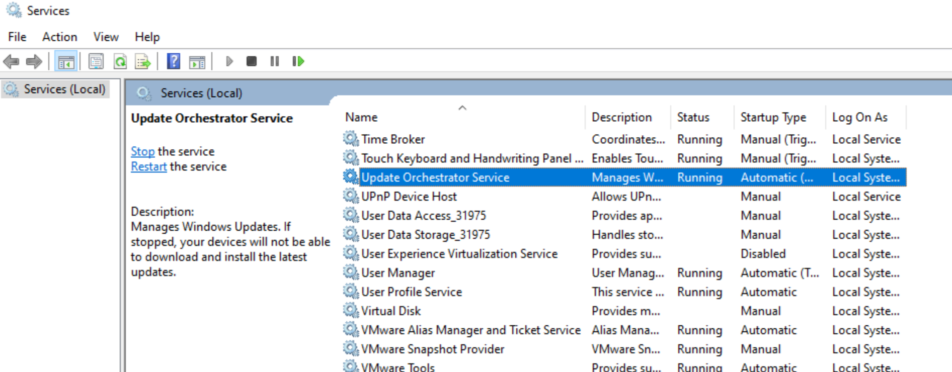 Scroll down to find the Update Orchestrator Service.