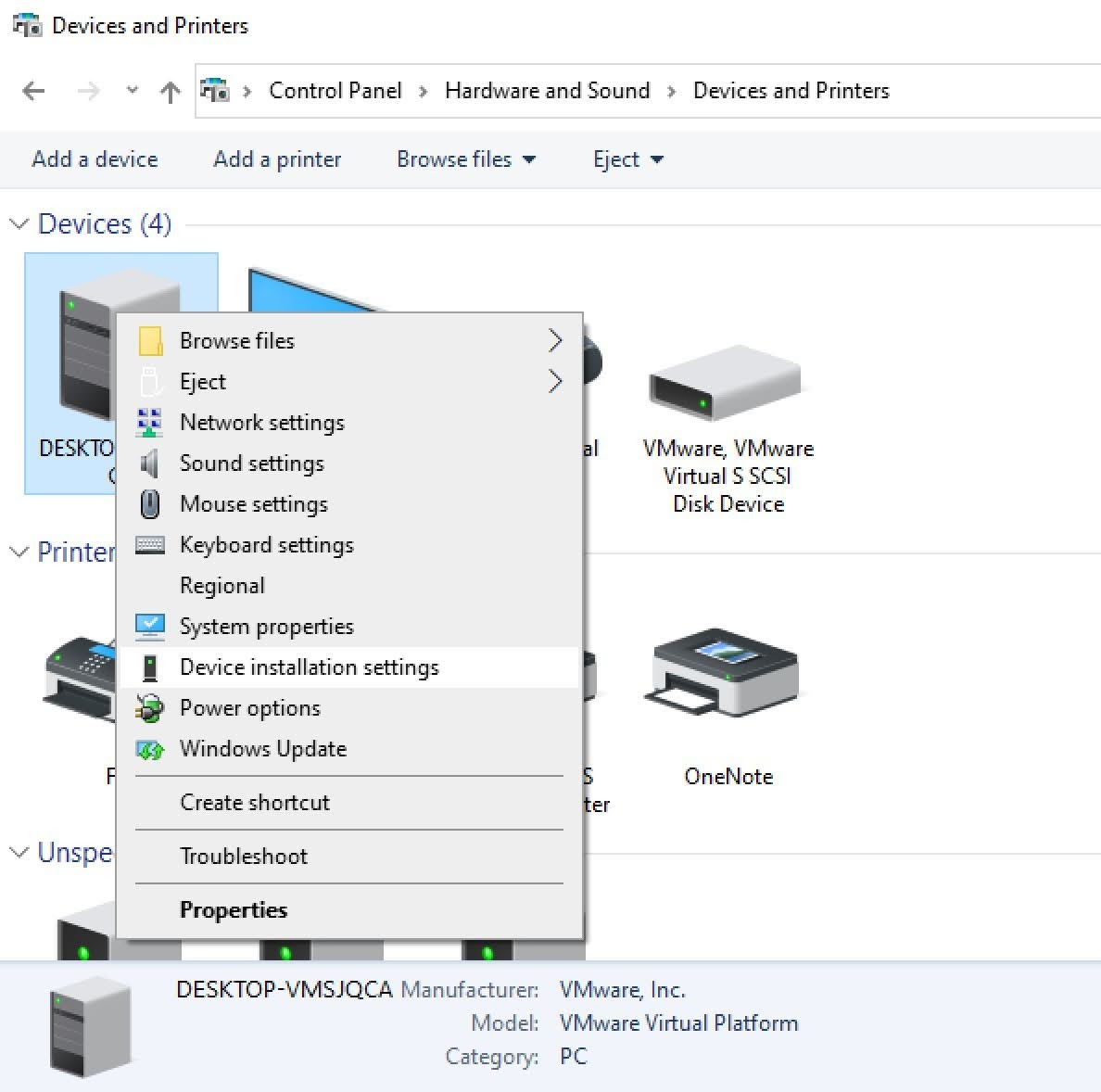 Right-click on your computer and choose Device installation settings from the context menu.