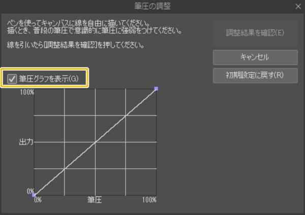 クリスタ:筆圧の調整(筆圧グラフ)