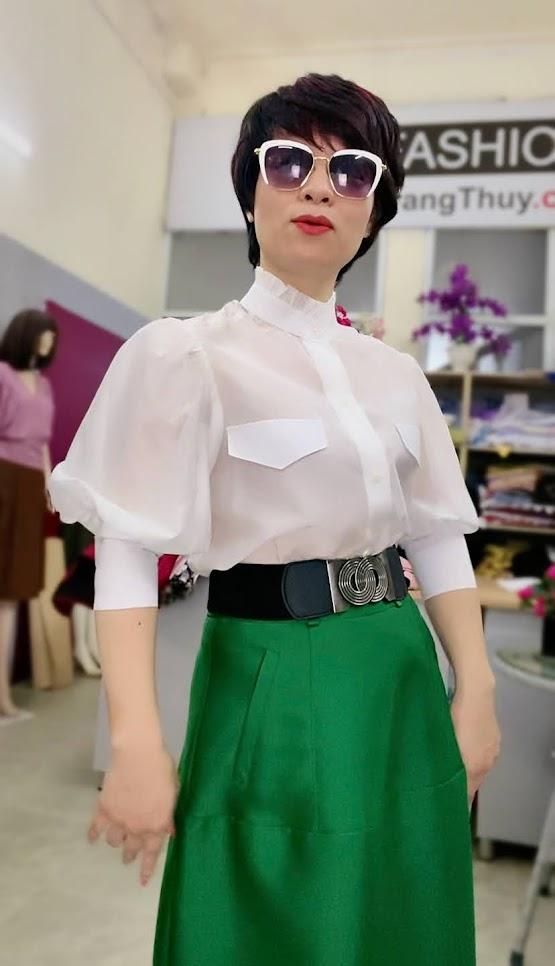 Áo sơ mi nữ tay bồng cao cổ thời trang thủy đà nẵng