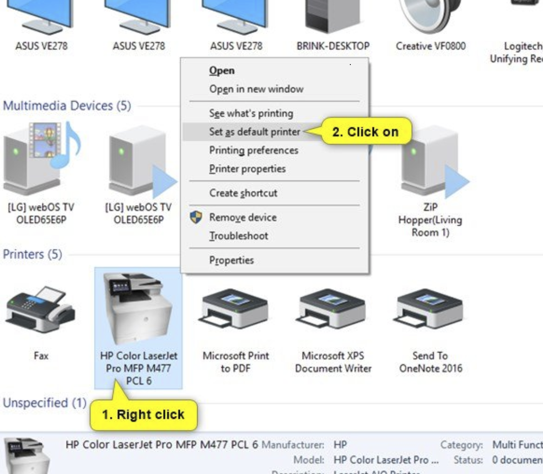 Right-click on the printer you want to set as your default printer. Click on the Set as default printer option in the context menu.