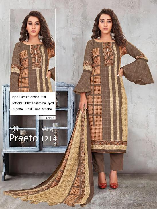 Preeto Series 1214 Bipson Prints Pashmina Dress Material Manufacturer Wholesaler