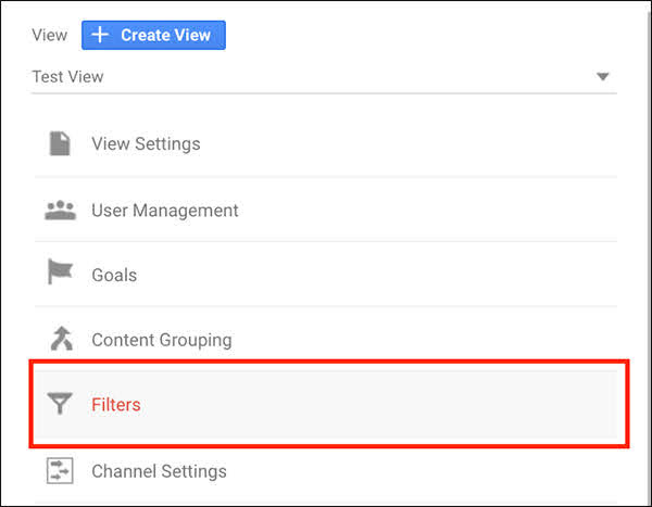 Go into the Admin section, and find the Filters tab. Click into Filters. *Remember* you can test out the filter in the test view If you want, but make sure you apply it to your Master View as well (just not your Raw View).