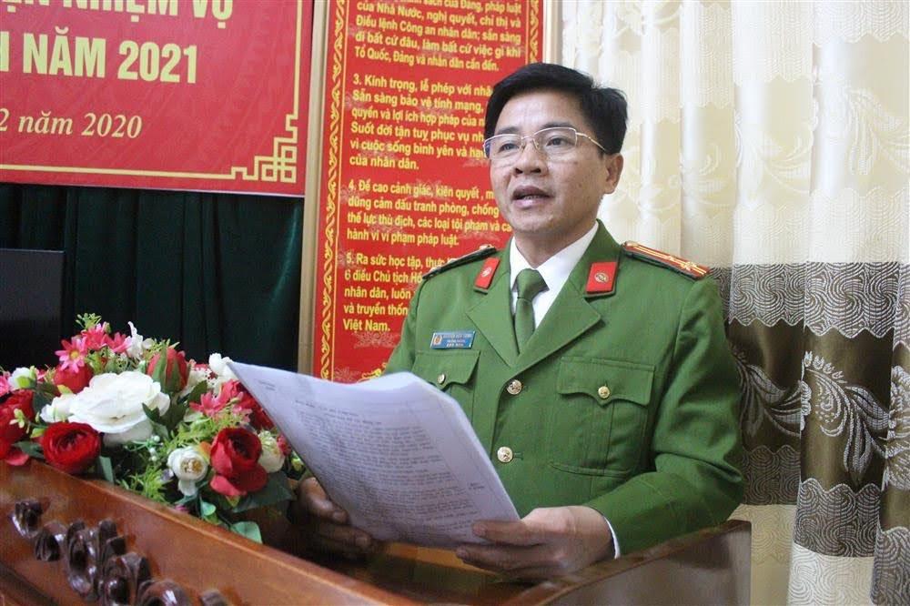 Thượng tá Nguyễn Hữu Thịnh, Trưởng phòng phát biểu tại Hội nghị