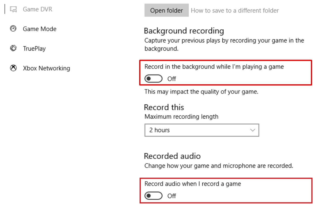 Toggle off Record in the background while I'm playing a game and Record audio when I record a game from Background recording section.
