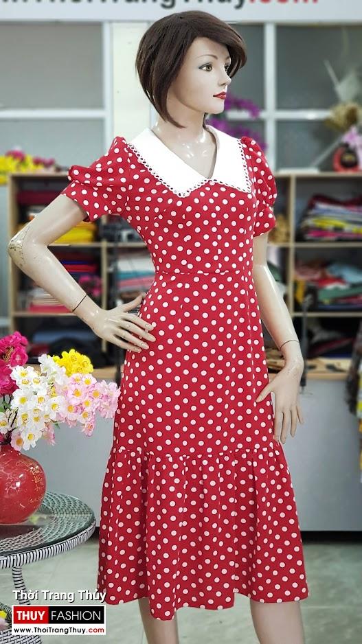 Váy xòe midi dáng dài qua gối vải lụa chấm bi V707 thời trang thủy hà nội