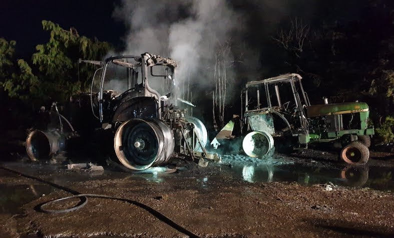 Tractors destroyed in fire