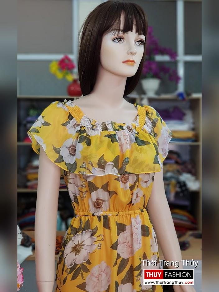 Váy maxi hoa vàng mặc đi biển dự tiệc thời trang thủy hà nội