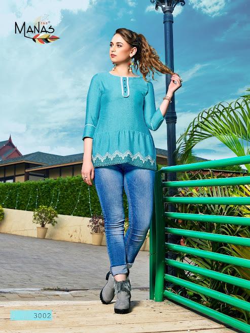 Manas Fab Rimzim Fancy Tops Catalog Lowest Price