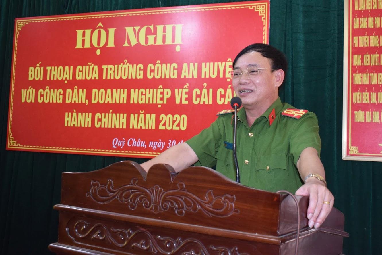 Đồng chí Thượng tá Nguyễn Đình Hùng – Trưởng Công an huyện phát biểu tại Hội nghị.