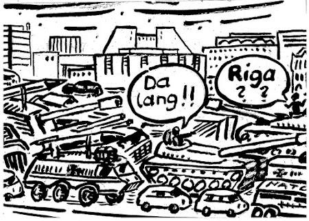 Auf der Nord-Südfahrt durch erhöhtes Panzeraufkommen verursachter Verkehrsstau.