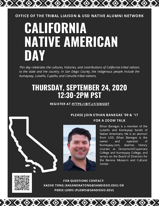 California Native American Day, Thursday, September 24 from 12:30-2pm,