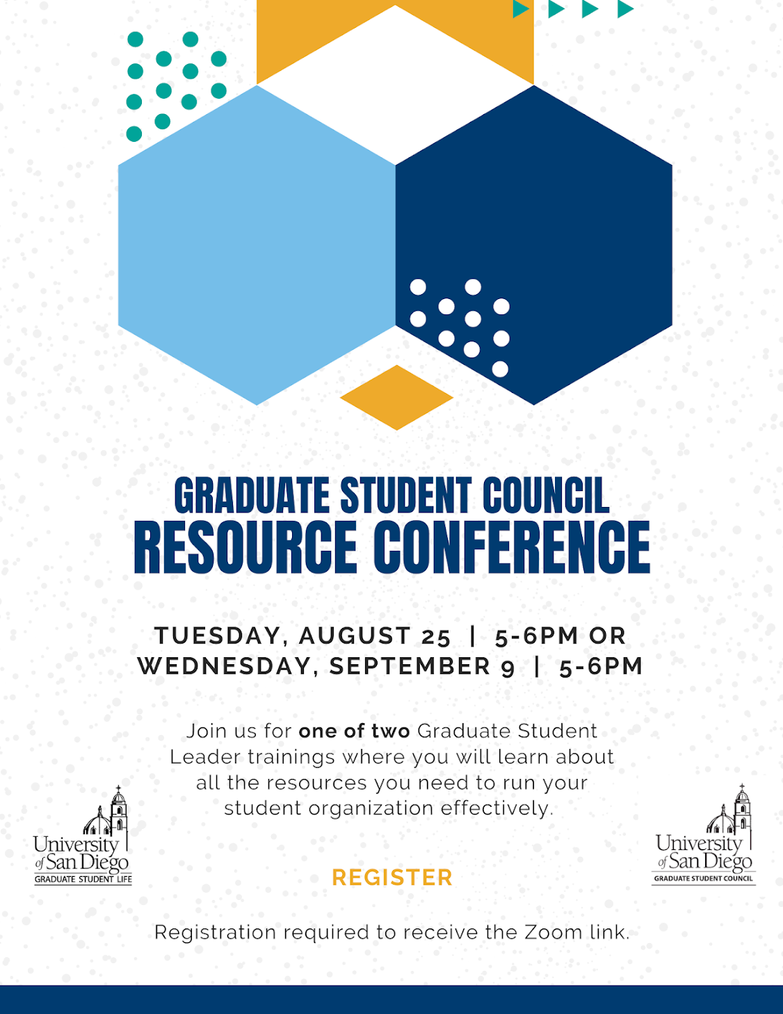 Grad Org Resource Conference, August 25 and September 9 from 5-6pm. Click to register.