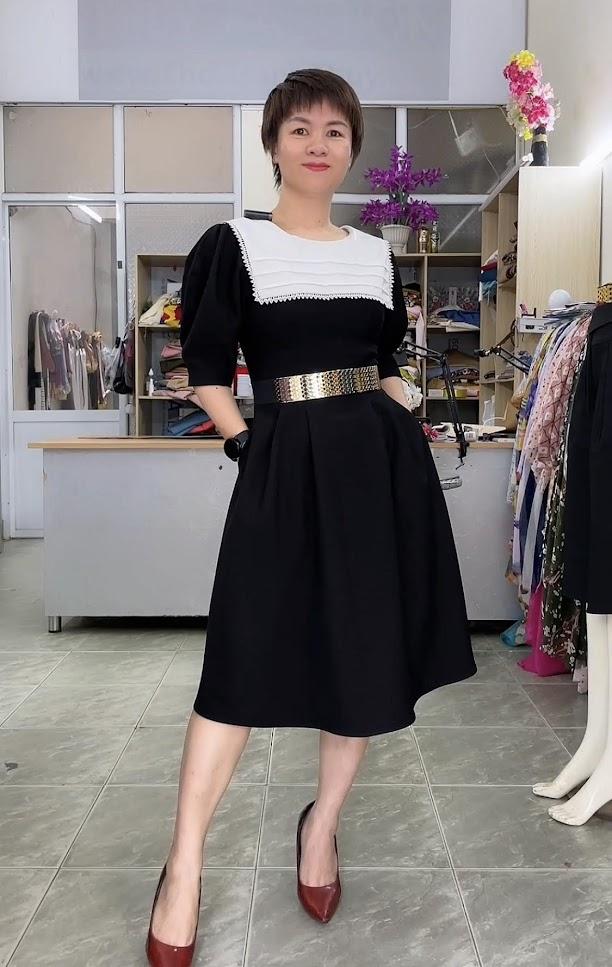 Review 5 ưu điểm váy xòe midi cổ yếm tay bồng thời trang thủy hà nội