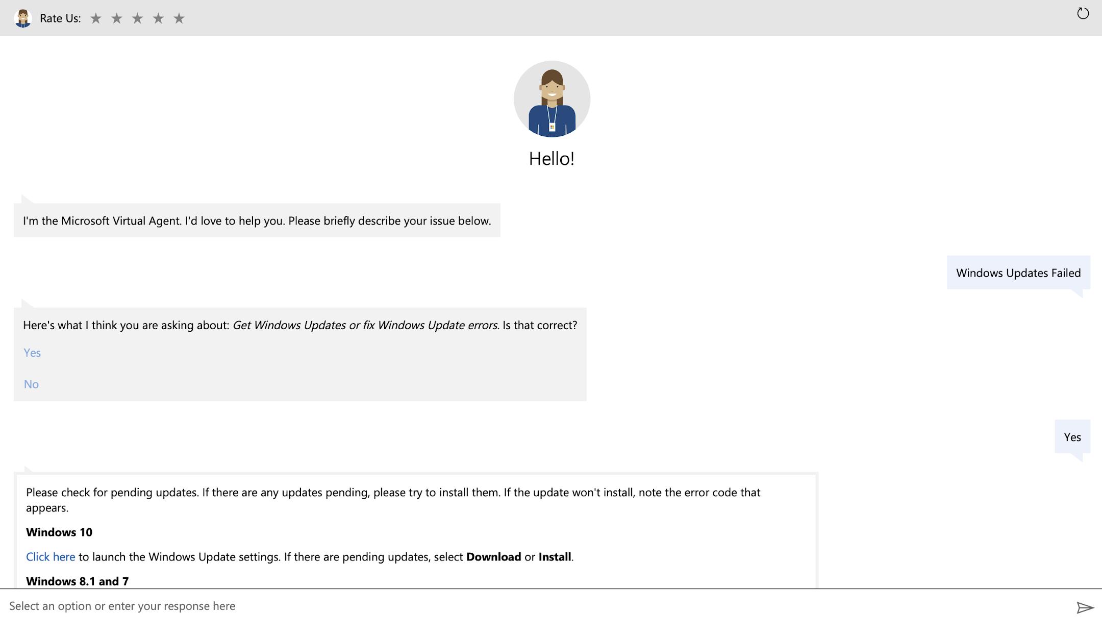AskMicrosoft Virtual Agent for how to fix Windows updates failed