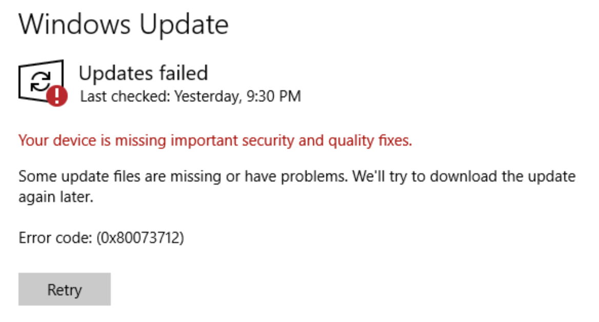Windows Update. Updates failed. Some update files are missing or have problems. We'll try to download the update again later.