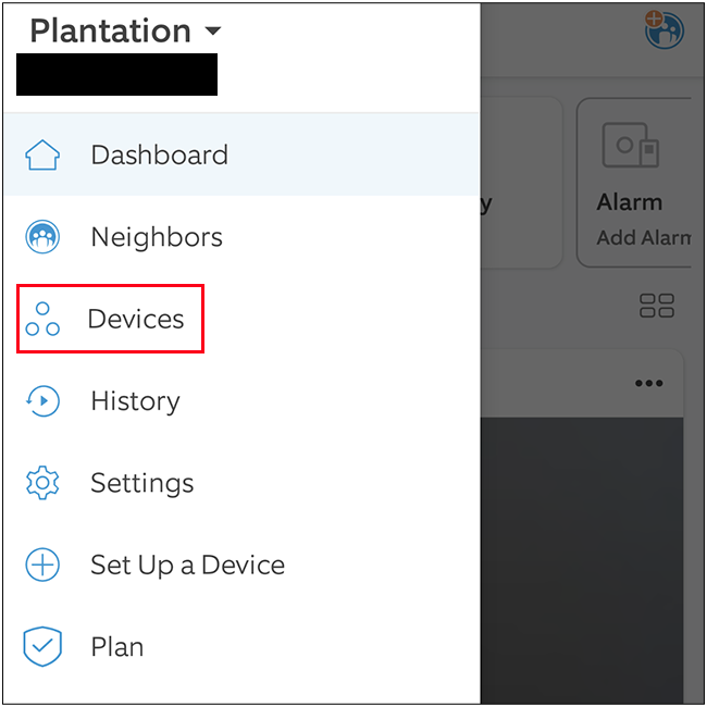 Select the Devices option from the side menu of Ring app.