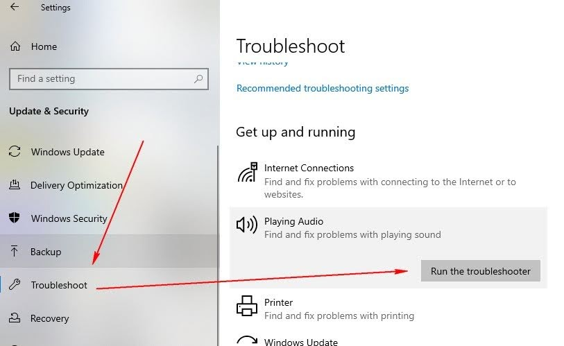 Run the troubleshooter for playing audio