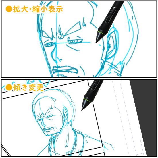 クリスタのキャンバス表示(角田市縮小/傾き)