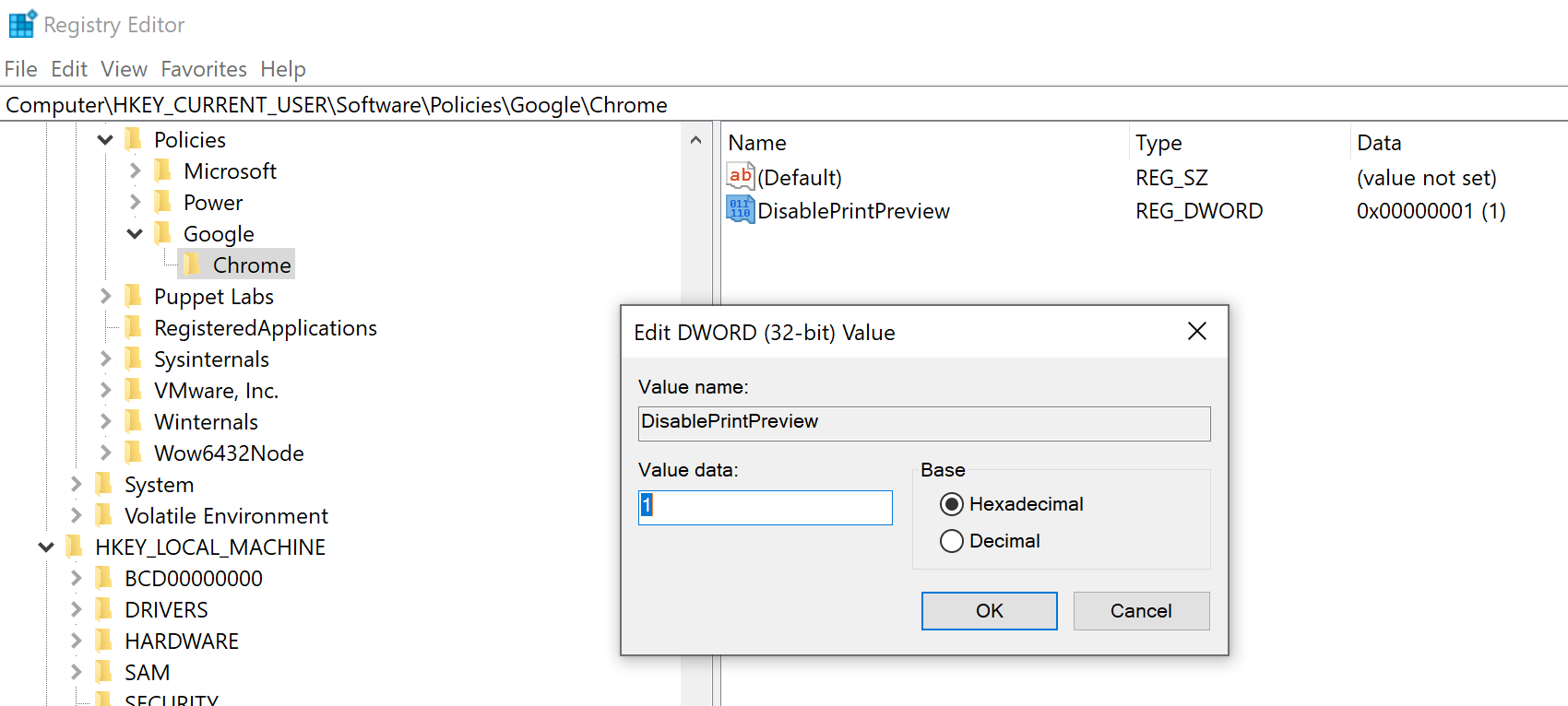Add DisablePrintPreview in Computer\HKEY_CURRENT_USER\SOFTWARE\Policies\Google\Chrome