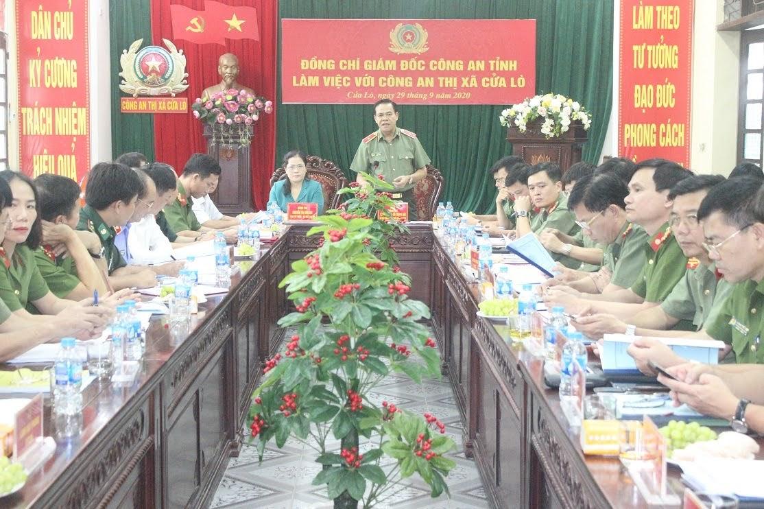 Đồng chí Thiếu tướng Võ Trọng Hải, Giám đốc Công an tỉnh phát biểu