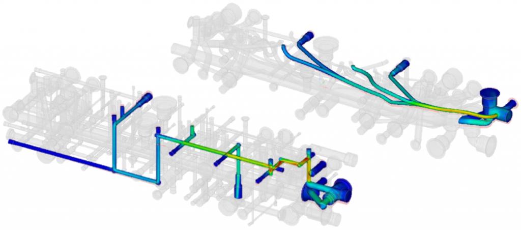 Результаты CFD-расчётов в Discovery Live. Показаны результаты для исходной (слева) и оптимизированной (справа) геометрии каналов