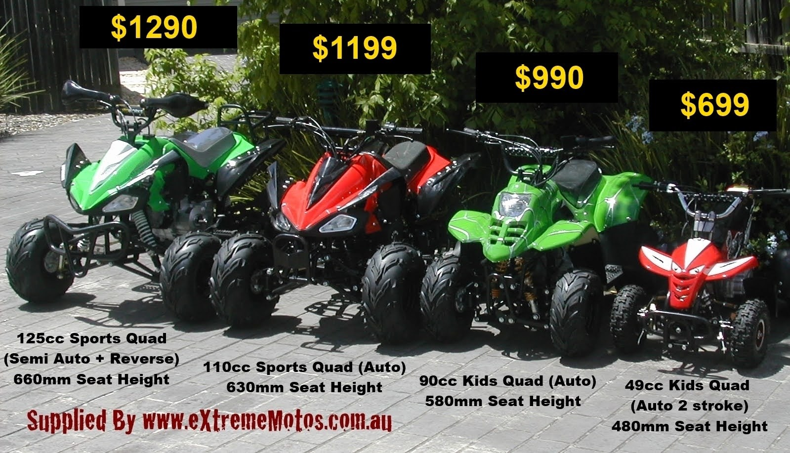 Size Cost Comparison Kids 125cc 110cc 90cc 49cc Sports Quad Bikes Atv