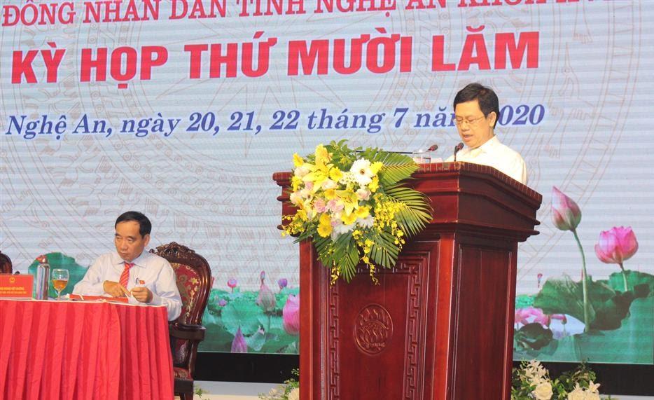 Đồng chí Nguyễn Xuân Sơn, Chủ tịch HĐND tỉnh phát biểu bế mạc Kỳ họp 15, HĐND tỉnh khóa XVII