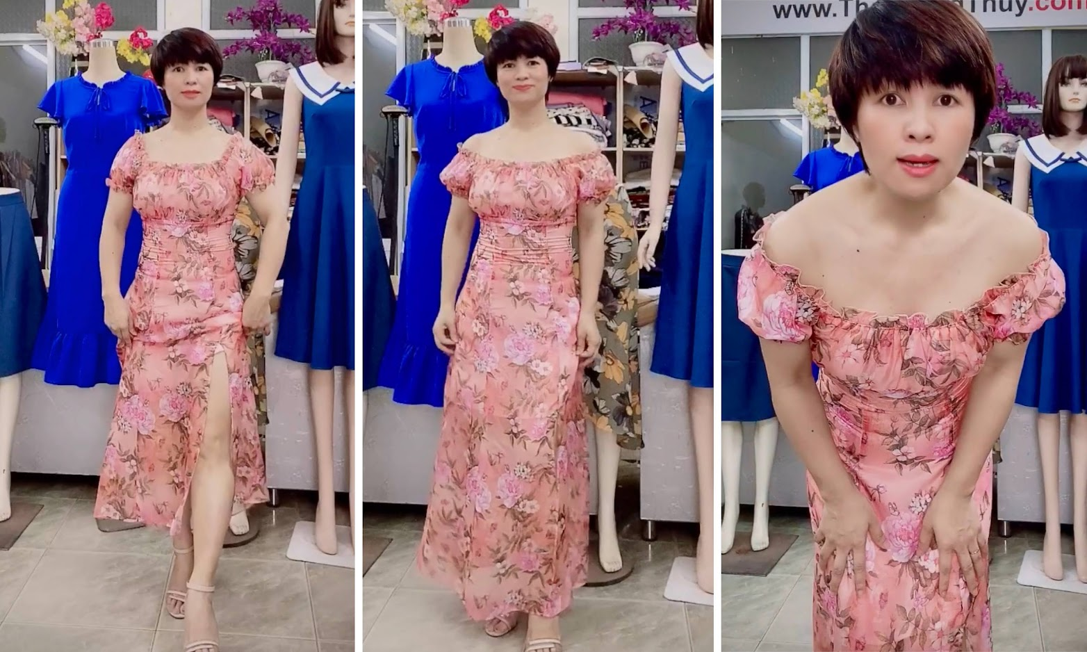 Váy maxi hoa mặc trễ vai đi biển dự tiệc V720 thời trang thủy