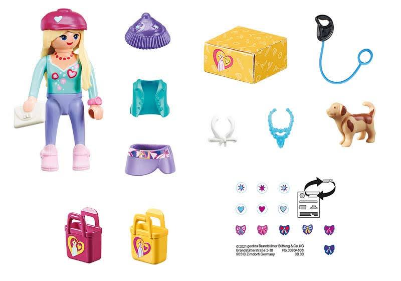 Contenido Real de Playmobil® 70595 Chica Fashion con Perro