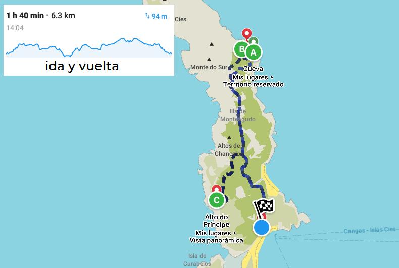 mapa ruta senderismo islas cíes